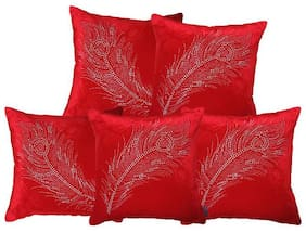 indoAmor Peacock Feather Velvet and Lycra Cushion Covers (Red;16x16 inch;Set of 5 Covers)