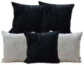 Indoamor Pseudo Velvet Cushion Cover With Interlocking (Set Of 5)
