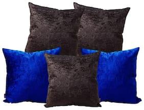 Indoamor Pseudo Velvet Cushion Cover With Interlocking (Set Of 5)