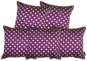 indoAmor Silk Cushion Covers;Laser Cut Pattern;16x16 inch (Set of 5 Covers)