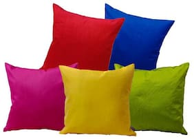 Indoamor Silk Cushion Covers Solid Plain Pattern With Interlocking (Set Of 5)