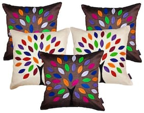 indoAmor Silk Cushion Covers;Colorful Tree Patch Work Pattern;16x16 inch (Set of 5 Covers)