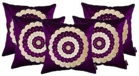 indoAmor Velvet Cushion Covers;Stonework Flower Pattern;16x16 inch (Set of 5 Covers)