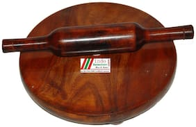 """Indoselection  Quality Product Glossary Finished Pure Teak/Sagwan Wooden Rolling Board-Rolling Pin/Chakla-Belan, Polpat-Roti Roller/Chapati Maker 9"""" with Rolling Pin/Belan Set"""
