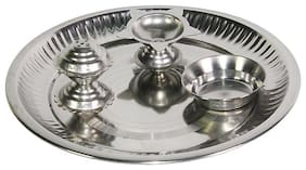 indoselection Puja Thali (Steel) -15 CM