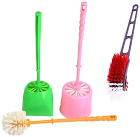 Indoselection Combo Of 2 Luxury Best Bathroom Toilet Bowl Brushes and Holders Toilet Brush Holder PVC Plastic Toilet and Get Sink Brush Random Color Toilet Round Brush Holder