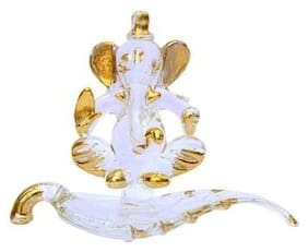 Indoselection Golden Polished Handcrafted Glass Patta Ganesh