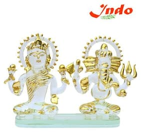 Indoselection Crysta Ganesh With Laxmi Mata In Glass Handicraft