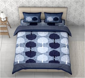 Indra's Cotton Printed Double Size Bedsheet 104 TC ( 1 Bedsheet With 2 Pillow Covers , Blue )
