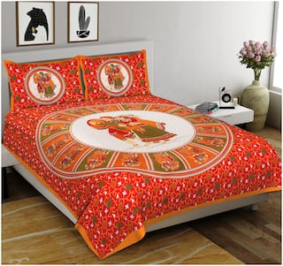 Indra's Cotton Rajasthani Jaipuri Print Double Size Bedsheet 104 TC ( 1 Bedsheet With 2 Pillow Covers , Multi )
