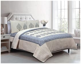 Indra's Cotton Printed Double Size Bedsheet 104 TC ( 1 Bedsheet With 2 Pillow Covers , Multi )