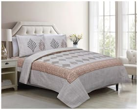 Indra's Cotton Printed Double Size Bedsheet 104 TC ( 1 Bedsheet With 2 Pillow Covers , Brown )