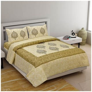 Indra's Cotton Printed Double Size Bedsheet 104 TC ( 1 Bedsheet With 2 Pillow Covers , Yellow )