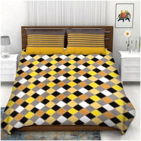 Indra's Cotton Geometric Double Size Bedsheet 104 TC ( 1 Bedsheet With 2 Pillow Covers , Multi )