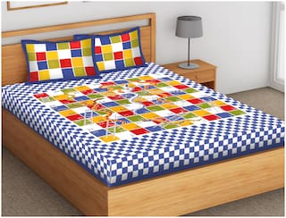 Indra's Cotton Checkered Double Size Bedsheet 104 TC ( 1 Bedsheet With 2 Pillow Covers , Blue )