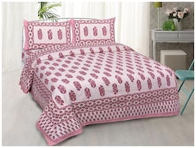 Indra's Cotton Floral Double Size Bedsheet BELOW 120 TC ( 1 Bedsheet With 2 Pillow Covers , Pink )