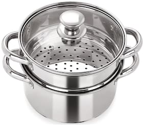 PRISTINE Induction Base 2 Tier Multi Purpose Steamer with Glass Lid, 18cm