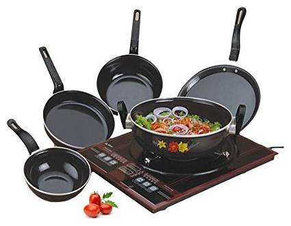 Induction Base Aluminium Cookware Pan Set, 5-pcs, Black