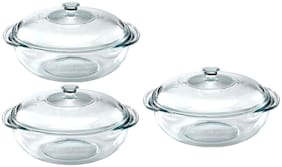IndusBay Microwave Safe Toughened Glass Casserole Containers Borosilicate Bowl with Lid;760 ml - Set of 3