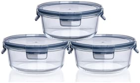 IndusBay Microwave Safe Bowl;930 ML with Airtight Lid Klip and Store Leak Proof Toughened Glass Borosilicate Round microven Bowls with lid Fresh Containers - Set of 3