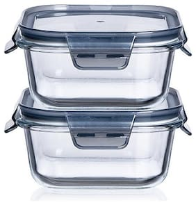 IndusBay Microwave Safe Bowl;800 ml with Airtight Lid Klip and Store Leak Proof Toughened Glass Borosilicate Square microven Bowls with lid Fresh Containers - Set of 2