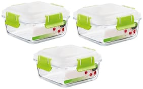 IndusBay Microwave Safe Bowl;550 ML with Airtight Lid Klip and Store Leak Proof Toughened Glass Borosilicate Square microven Bowls with lid Fresh Containers - Pack of 3