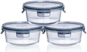 IndusBay Microwave Safe Bowl;Set of 3 Pieces 370 ML with Airtight Lid Klip and Store Leak Proof Toughened Glass Borosilicate Round microven Bowls with lid Fresh Containers