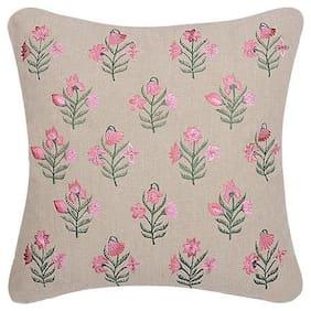 INIHOM 100% Cotton Designer Embroidered Cushion Covers- ( Multicolored)