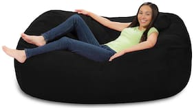 Ink Craft Extra Large 6' Fuf Comfort Suede Bean Bag Cover Only Black