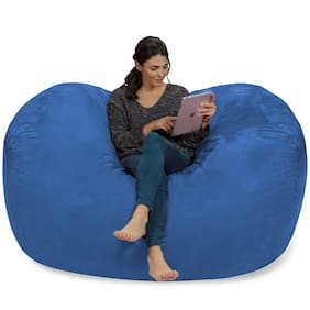 Ink Craft Extra Large 6' Fuf Comfort Suede Bean Bag Cover Only Blue