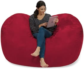 Ink Craft Extra Large 6' Fuf Comfort Suede Bean Bag Cover Only Red