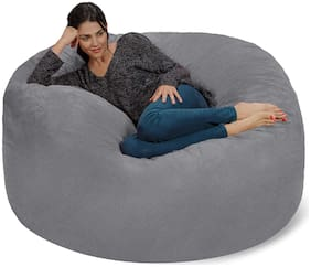 Ink Craft Velvet Large 4' Fuf Comfort Suede Bean Bag Chair Cover,GREY