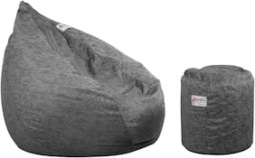 InkCraft Highback Printed Beanbag Chair and Footstool for Indoors or Outdoors With bean Fillers -X-Large,METALLIC GREY