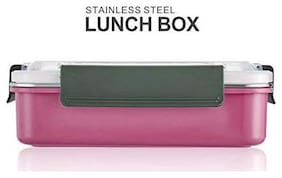 Instabuyz 3 Containers Stainless steel Lunch Box - Pink