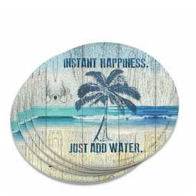 Instant Happiness Just Add Water Tropical Beach Novelty Coaster Set