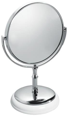 InterDesign York Free Standing Classic American Style Vanity Makeup Mirror for Bathroom Countertops - White/Chrome