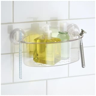 InterDesign Power Lock Suction Bathroom Shower Caddy Basket Medium for Shampoo;Conditioner;Soap/ Bathroom Organiser / Bathroom Accessories- Clear