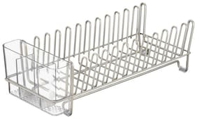 InterDesign Classico Stainless Steel Sink Dish Drainer Rack Kitchen Drying Rack for Glasses;Silverware;Bowls;Plates - Satin/Clear