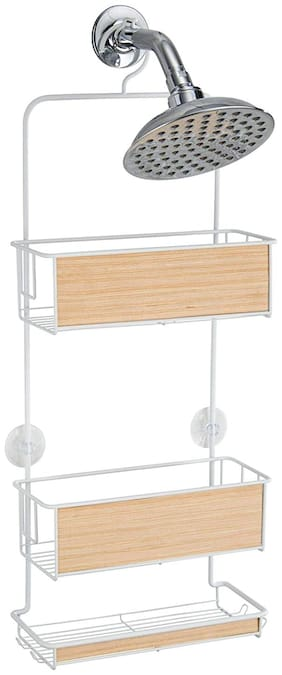 InterDesign RealWood Shower Caddy - Bathroom Storage Shelves for Shampoo;Conditioner and Soap;White/Light Wood Finish
