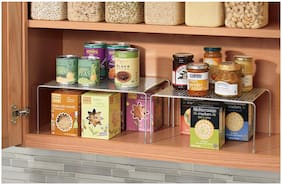 InterDesign Classico Expandable and Stackable Storage Shelves for Kitchen Cabinets,Countertops,Pantries - Silver