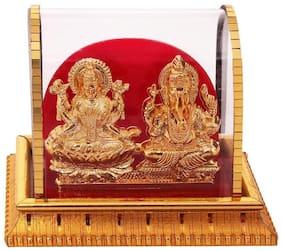 INTERNATIONAL GIFT Gold Plated Laxmi Ganesh Acrylic Idol/Hindu God Ganpathi & Goddess Laxmi Pooja Mandir/Car Dashboard/Office Tabel
