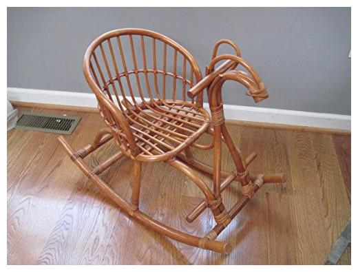 Ira Furniture Cane Art Contemporary Rattan Horse Rocking Chair For Kids
