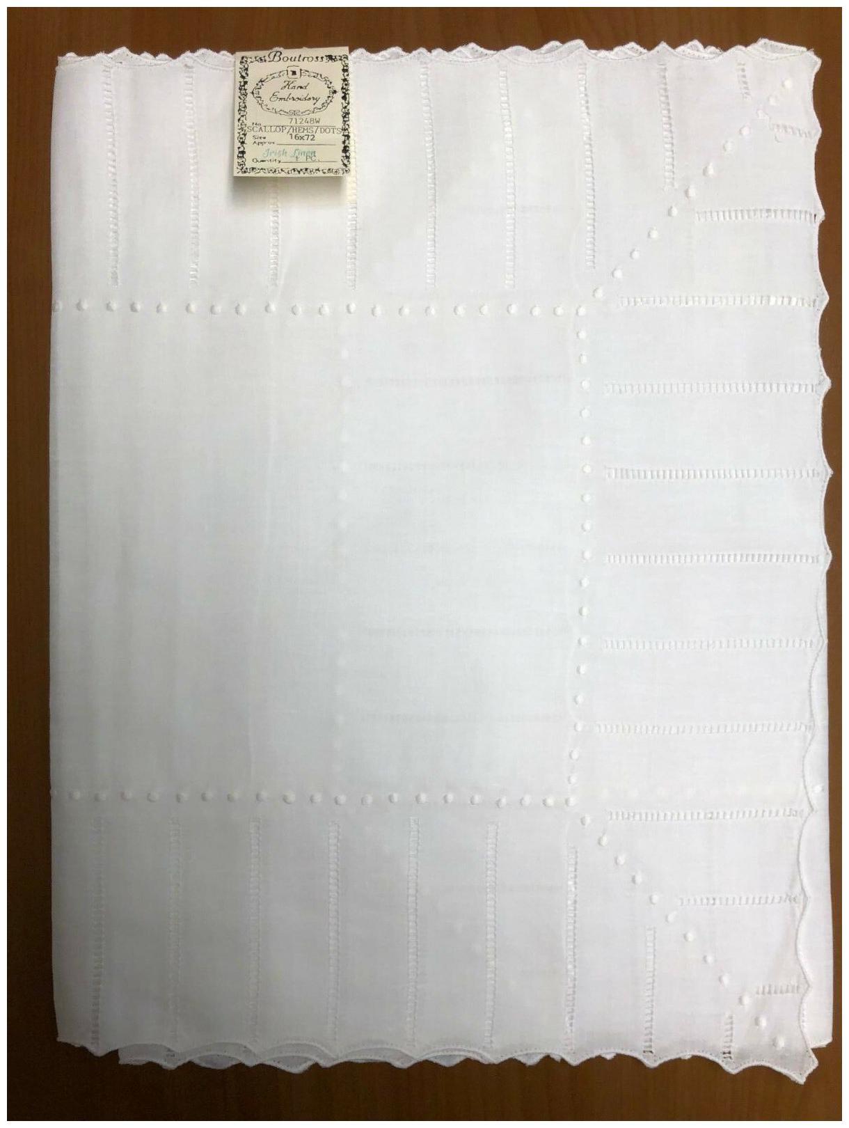 Hand Embroidery:R71248-72 16X72 Irish Linen Scallop//Hemstitch//DotsTable Runner