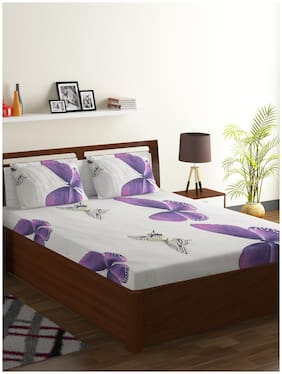 ISPACE Microfiber Abstract Single Size Bedsheet 104 TC ( 1 Bedsheet Without Pillow Covers , Pink )