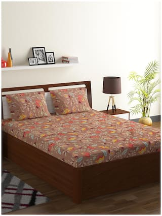 ISPACE Microfiber Floral Double Size Bedsheet 144 TC ( 1 Bedsheet With 2 Pillow Covers , Brown )