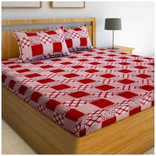 Italian Fab Microfiber 3D Printed Double Size Bedsheet 144 TC ( 1 Bedsheet With 2 Pillow Covers , Red )