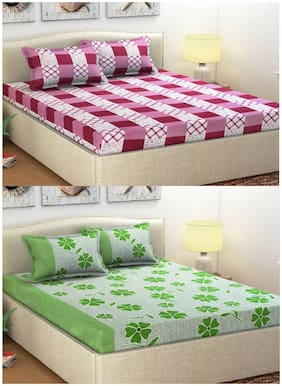Italian Fab Microfiber 3D Printed Double Size Bedsheet 144 TC ( 2 Bedsheet With 4 Pillow Covers , Multi )
