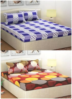 Italian Fab Poly cotton Printed Double Size Bedsheet Combo ( 2 Bedsheet With 4 Pillow Covers , Multi )
