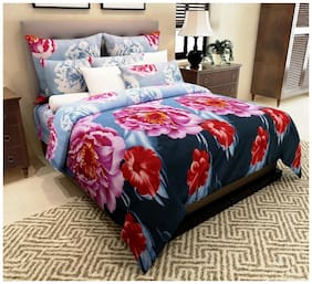 Italian Fab Microfiber Floral Double Size Bedsheet 144 TC ( 1 Bedsheet With 2 Pillow Covers , Multi )
