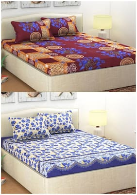 Italian Fab Microfiber 2 Double Bed Sheet With 4 Pillow Covers
